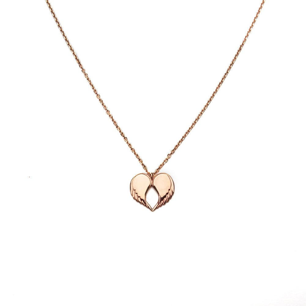 "Image of Angel Love Pendant - SHORT 18ct Rose Gold Plated 18"" Chain"