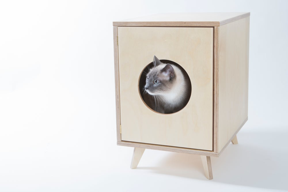 "Image of Cat Litter Box Cabinet - Pet House ""Juno"""