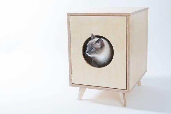 "Image of Cat Litter Box Cabinet - Pet House ""Juno"""