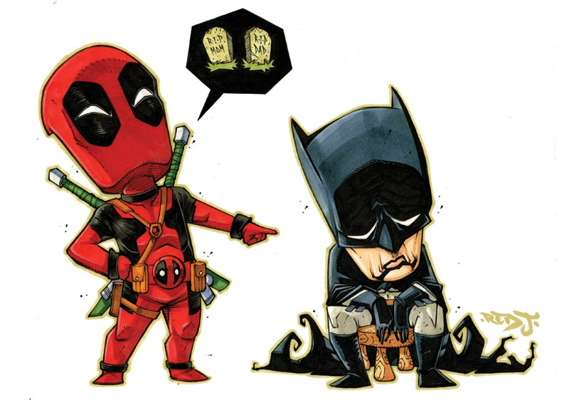 Image of Deadpool: Why so mean to Batman? A4 print.
