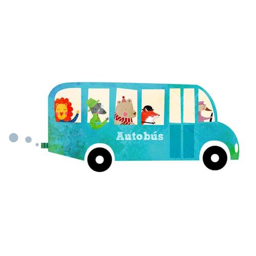 Image of Vinilo Autobús animales