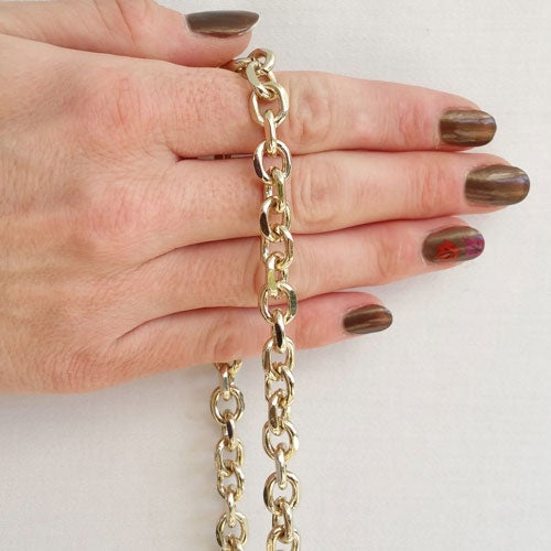 """Image of LIGHT GOLD Chain Purse Strap - Diamond Cut Rolo Chain - 3/8"""" (9mm) Wide - Choose Length & Clasps"""