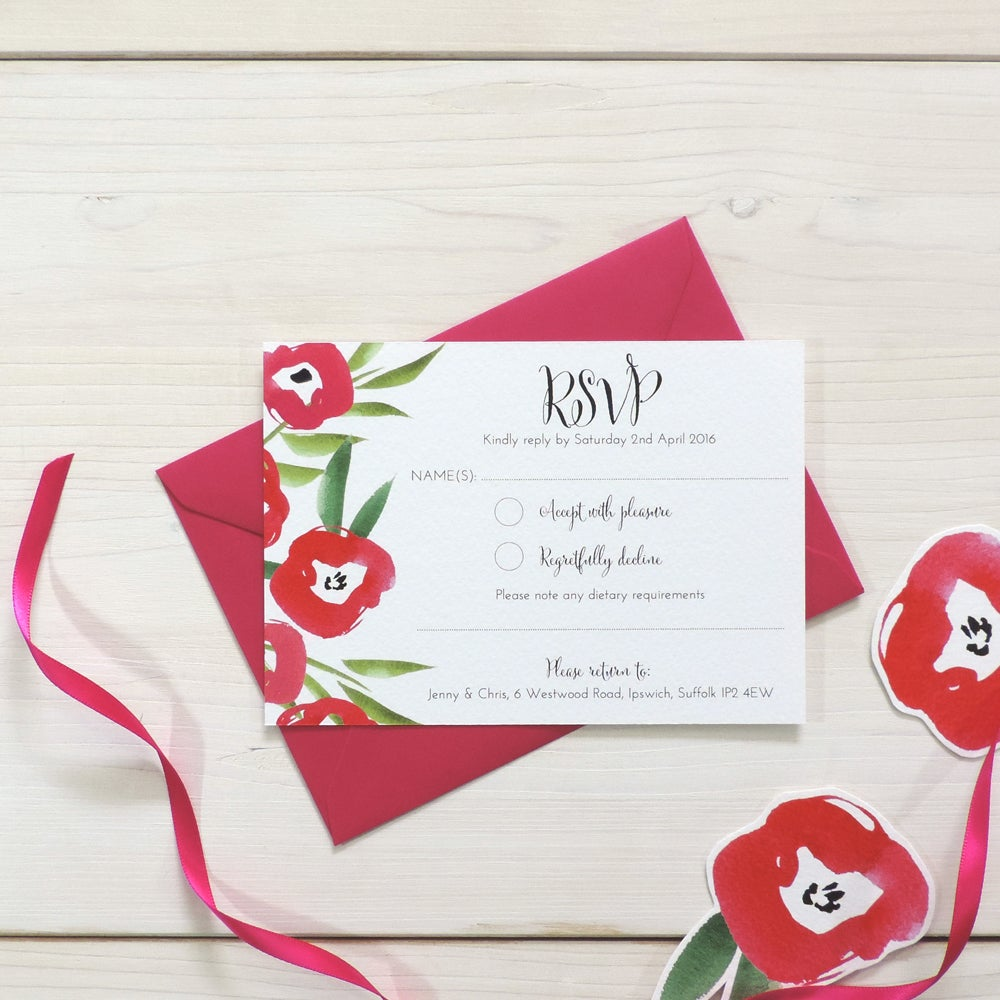 Image of Passion Bloom Bespoke Wedding Invitation and RSVP