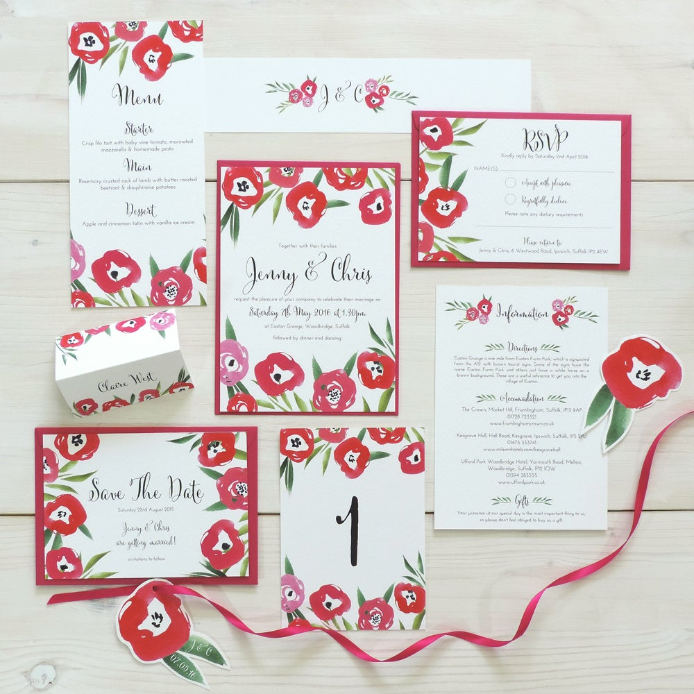 Image of Passion Bloom Bespoke Wedding Invitation and RSVP Bundle