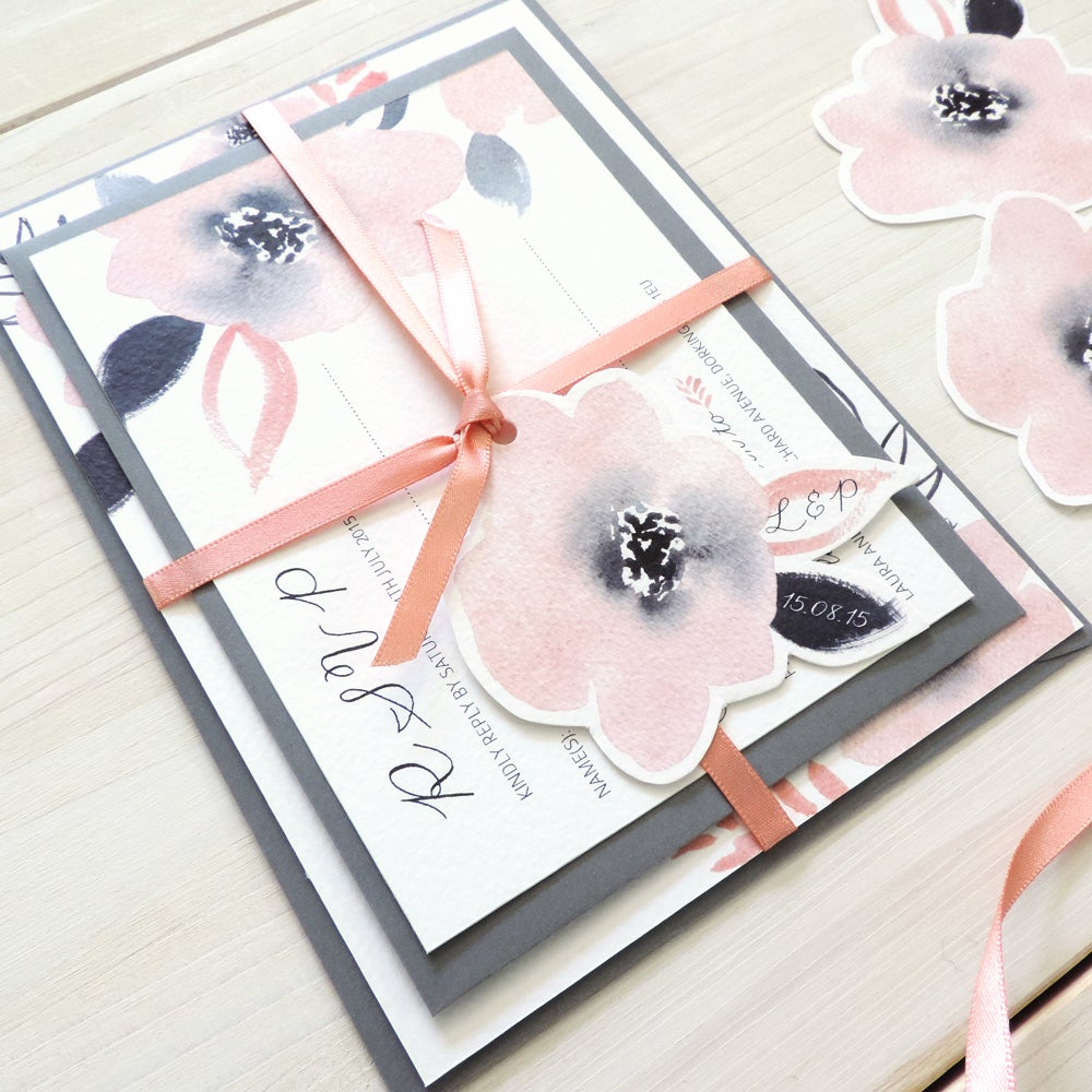 Image of Sweet Posey Bespoke Wedding Invitation and RSVP Personalised Bundle