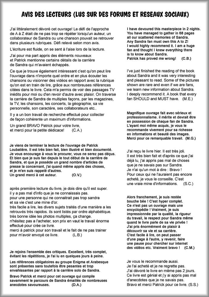 Image of SANDRA de A à Z (FOREVER) - avis des lecteurs (1)
