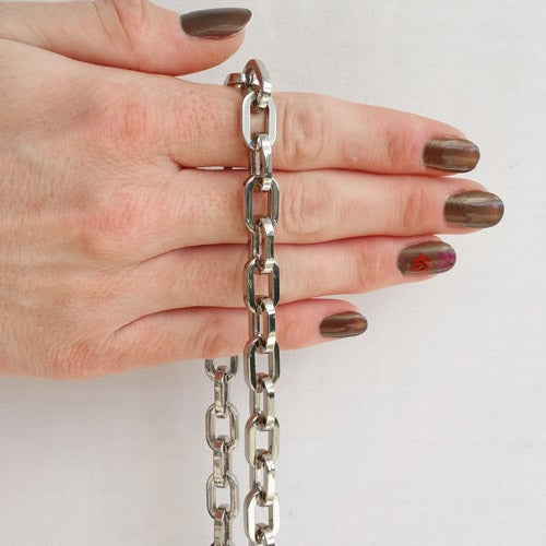 "Image of NICKEL Chain Strap - Elongated Box Chain - 3/8"" (10mm) Wide - Choice of Length & Hooks"