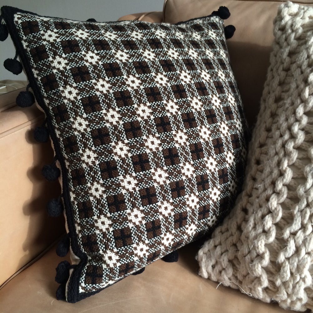 Image of Vintage Welsh blanket tapestry cushion with black pom pom detail
