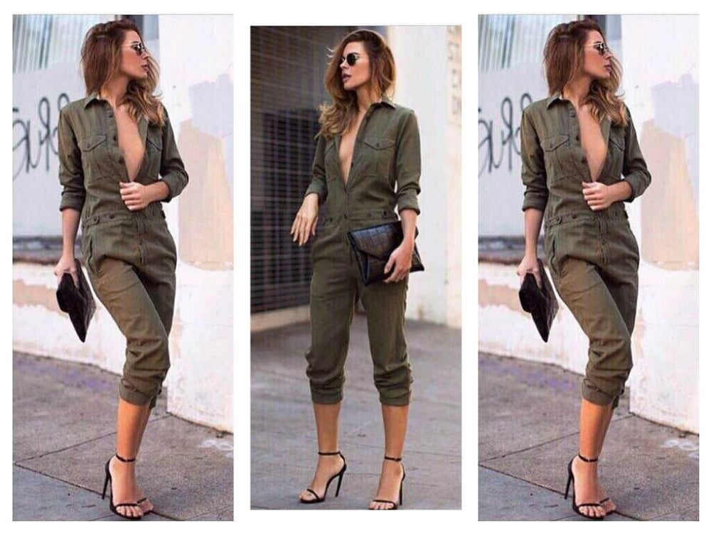Image of CLASSY GREEN THE NEW FEMALE LEISURE TROUSERS FASHION LONG-SLEEVED WOMEN JUMPSUITS LAPELS JUMPSUIT