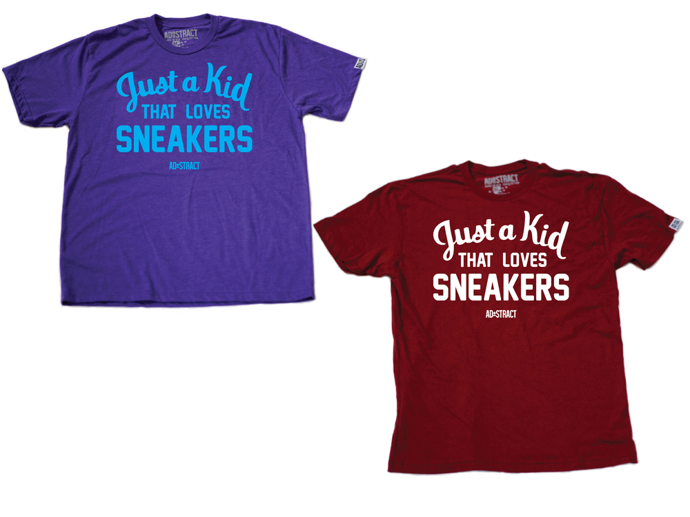 "Image of JUST A KID THAT LOVES SNEAKERS ""HORNETS/MAROON"" TSHIRT (MENS)"