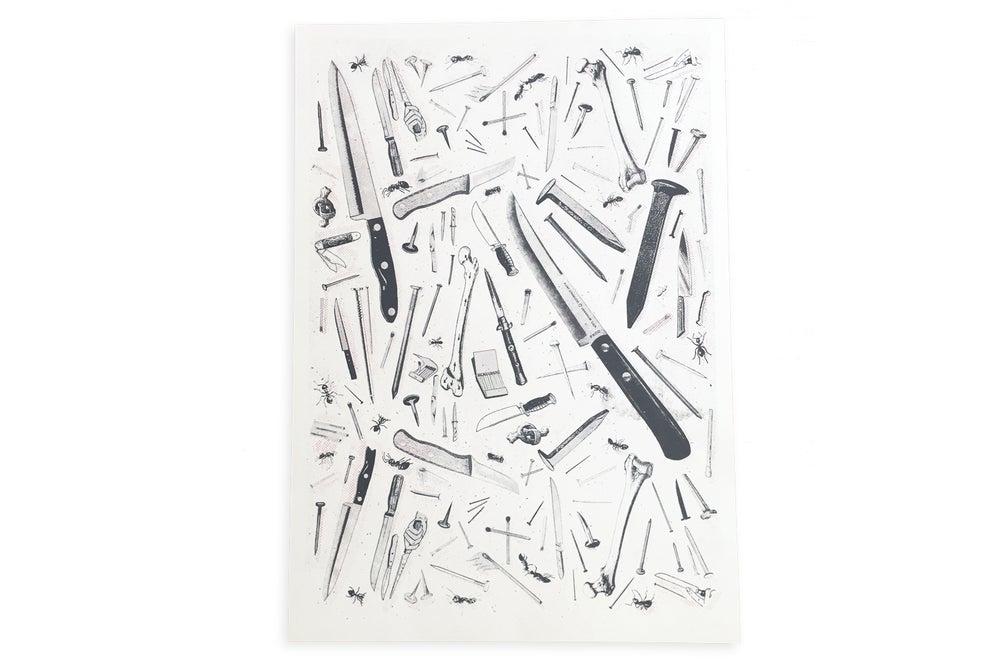 Image of 'Knives' Limited Edition Risograph Print
