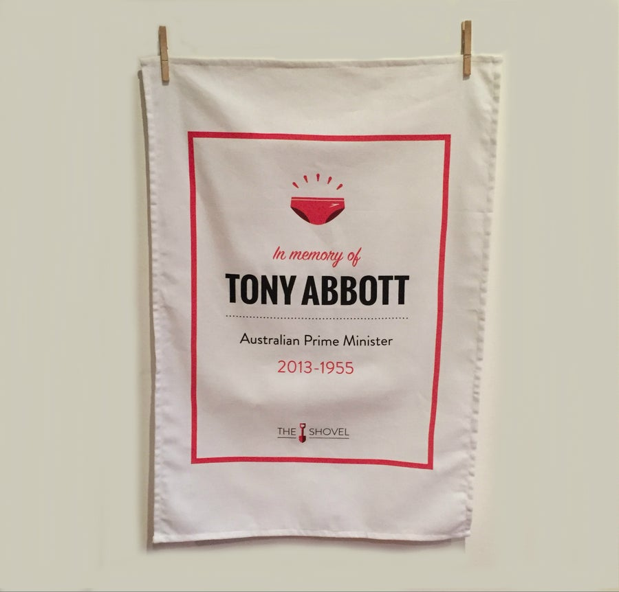 "Image of Tony Abbott Memorial Tea Towel: ""PM 2013-1955"""