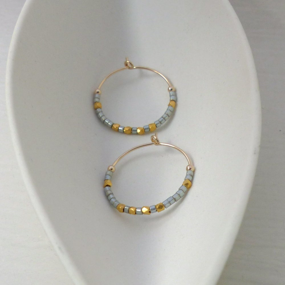 Image of Light Grey And Fair Trade Bead Hoops 20mm