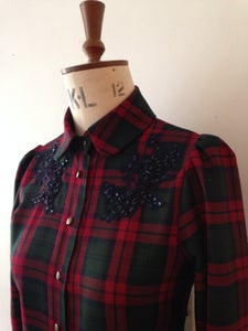 Image of Beaded tartan shirt
