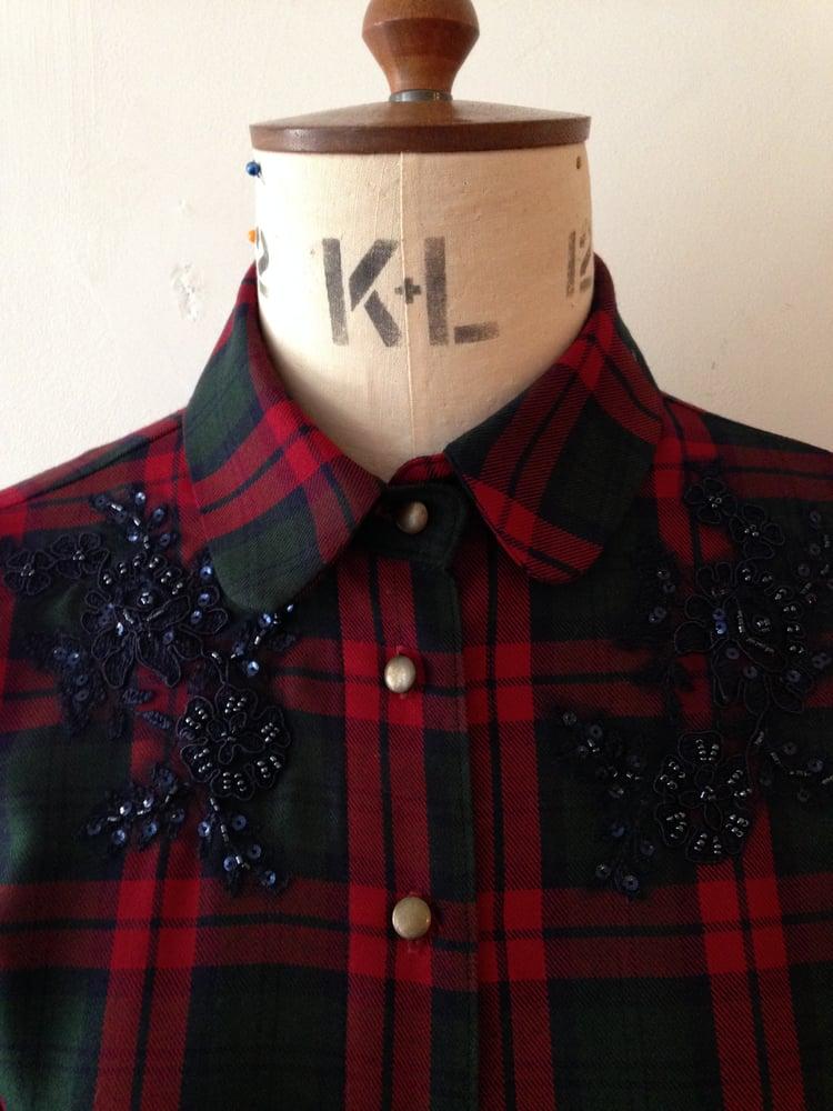 Image of Beaded tartan shirt