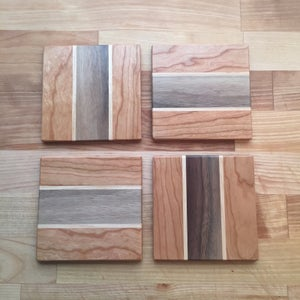 Image of Cherry, maple, & walnut coaster pack
