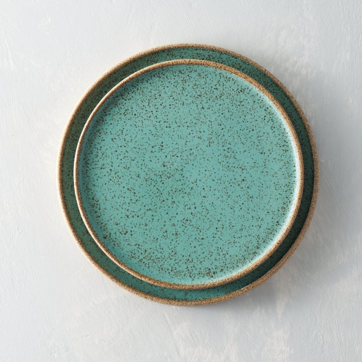 Image of Seafoam speckled plate set