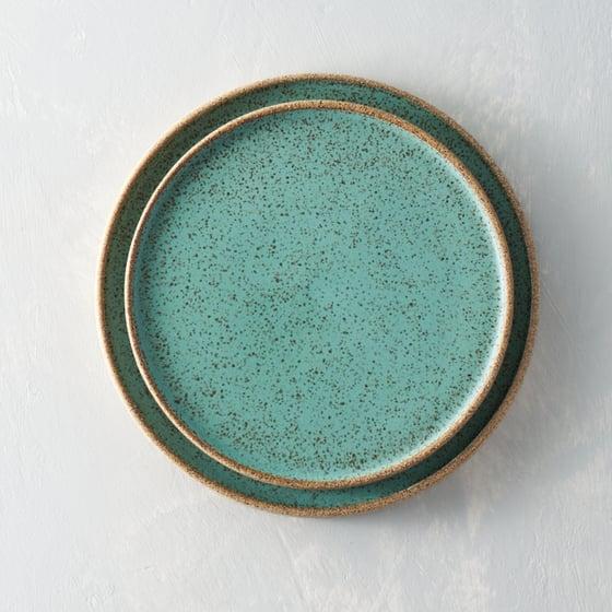 Image of Seafoam speckled plate set