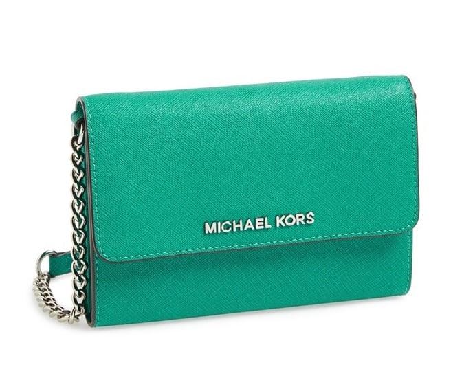 Image of MICHAEL Michael Kors Saffiano Leather Crossbody Bag Aqua