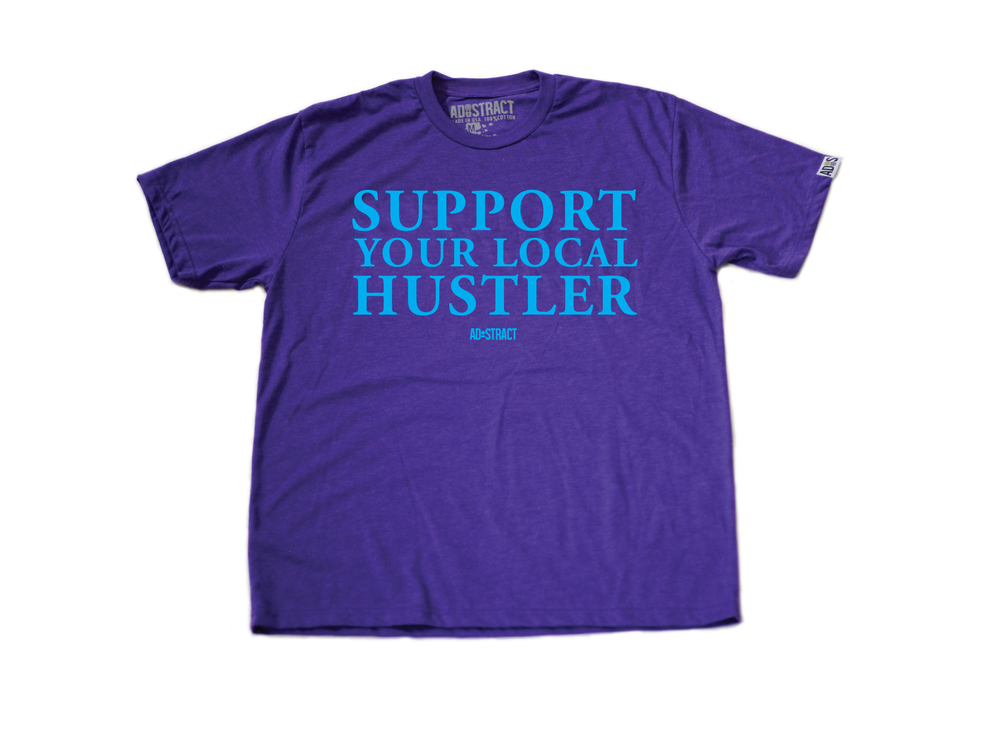 "SUPPORT YOUR LOCAL HUSTLER ""HORNETS/MAROON/RED/BLUE"" TSHIRT"