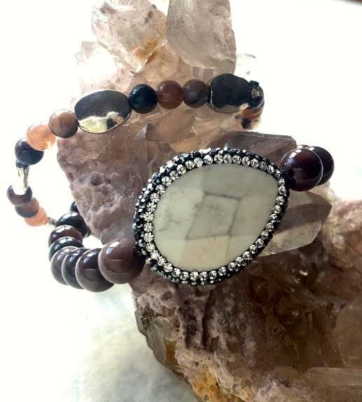 Image of Hematite Encrusted Sacred White Buffalo Turquoise, Fossilized Wood, Bone, Chocolate Moonstone