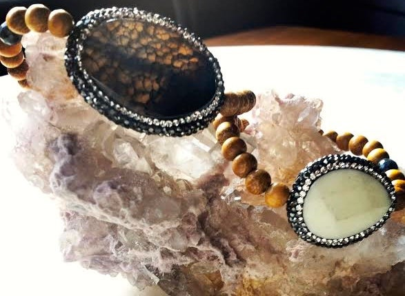 Image of Hematite Encrusted Sacred White Buffalo Turquoise and Sandalwood with Black Opal