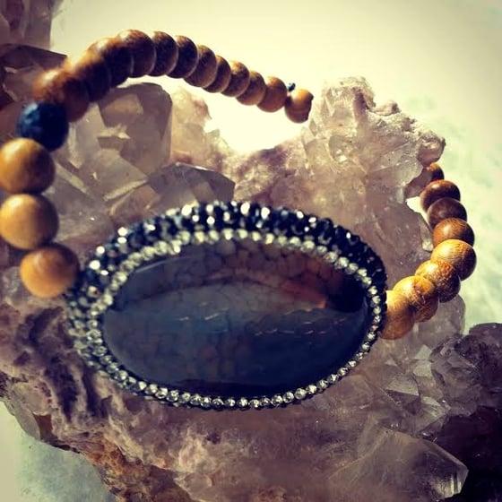 Image of Harmonizing <3 Hematite Encrusted Agate with Sandalwood and Black Opal