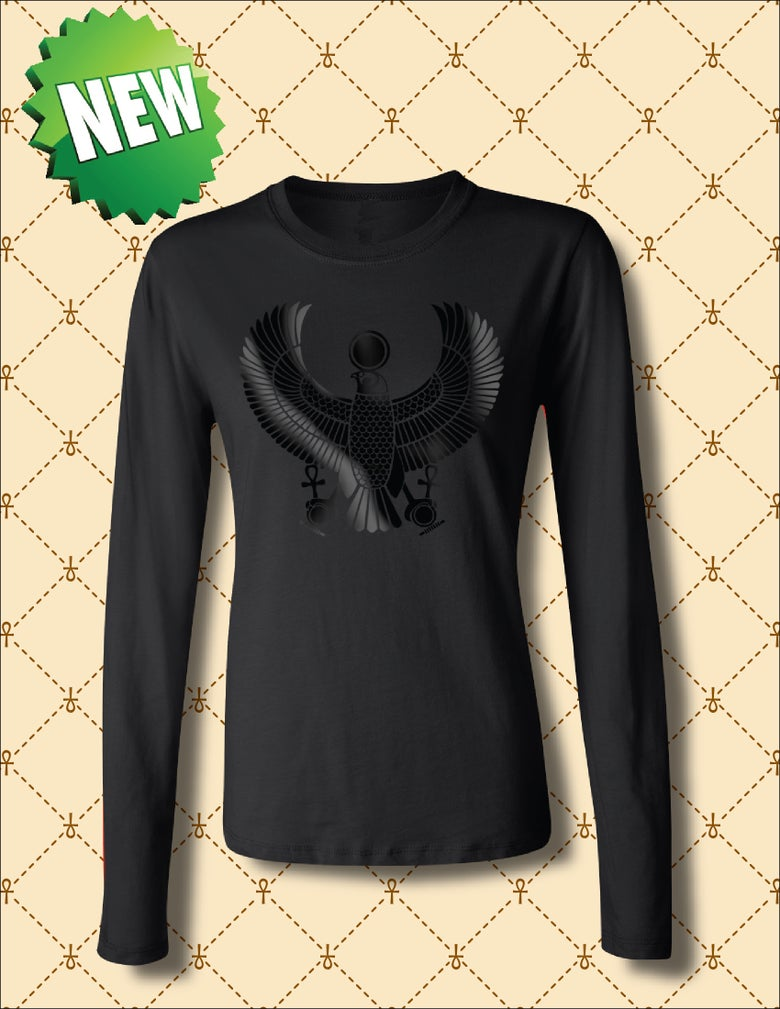 Image of WOMEN'S BLACK FOIL HRU  LONG SLEEVE TSHIRT
