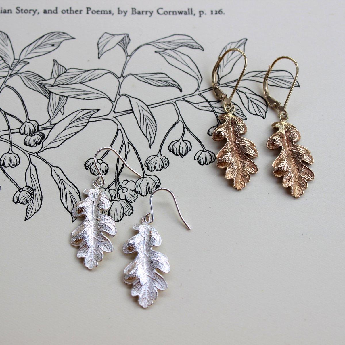 Image of oak leaf earrings (silver or 9ct gold)