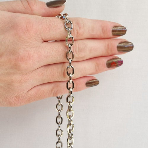 "Image of NICKEL Chain Strap - Mini Elongated Box Chain - 1/4"" (7mm) Wide - Choice of Length & Hooks/Clasps"