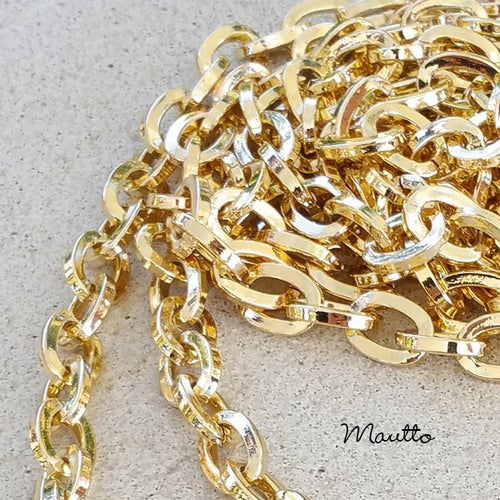 "Image of GOLD Chain Strap - Mini Elongated Box Chain - 1/4"" (7mm) Wide - Choice of Length & Hooks/Clasps"