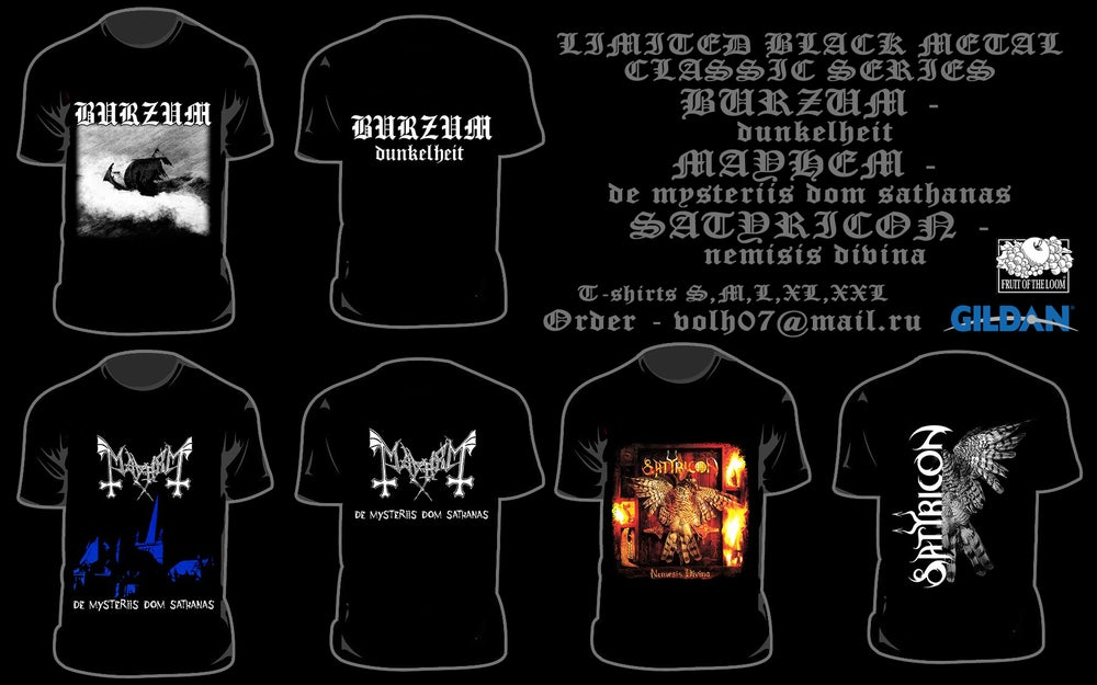 Image of LICENSE T-SHIRTS BURZUM / MAYHEM / SATYRICON