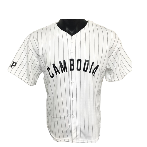Image of REP CAMBODIA PIN STRIPED BASEBALL JERSEY