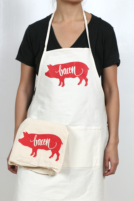 Image of Bacon Apron and Tea Towel Set
