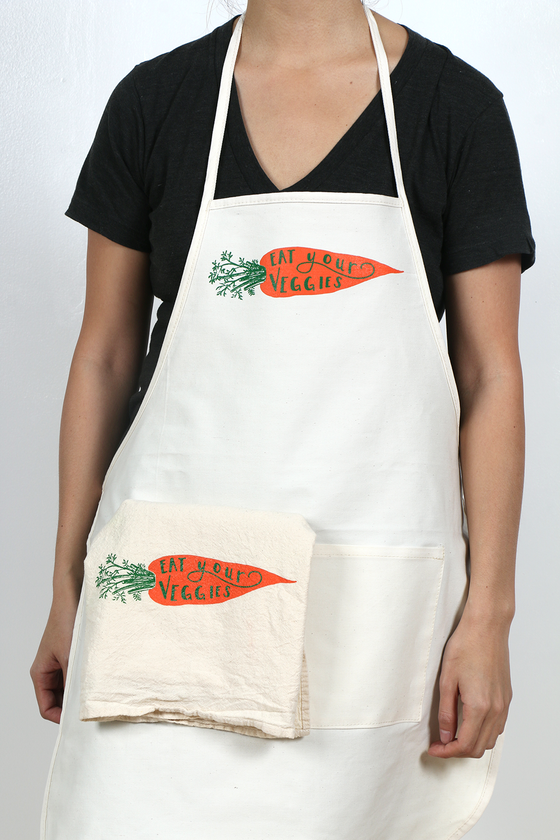 Image of Eat Your Veggies Apron and Tea Towel Set