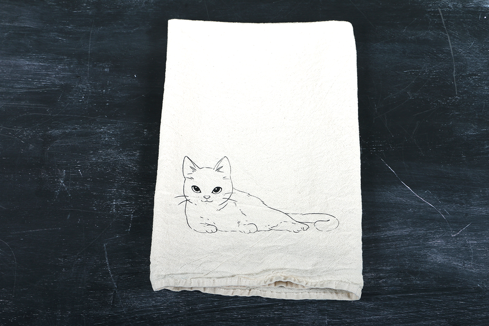 Image of Laying Cat Tea Towel