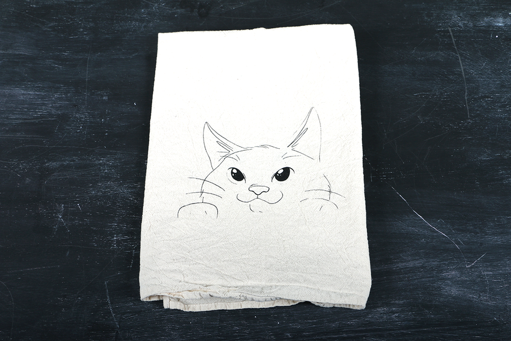 Image of Curious Kitty Tea Towel