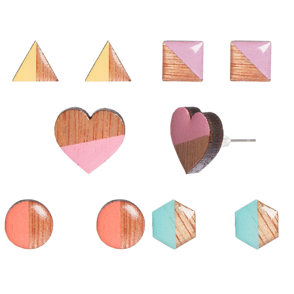 Image of Geometric Wood & Resin Earrings