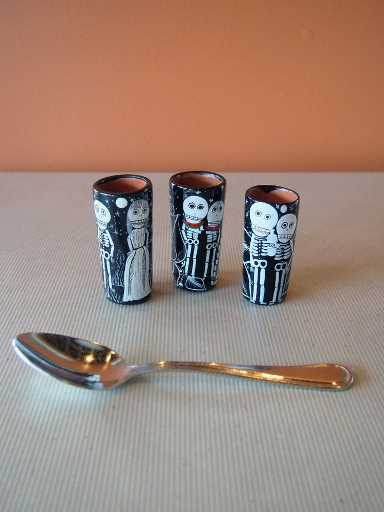 Image of Dia de Muertos Clay Shot Glasses