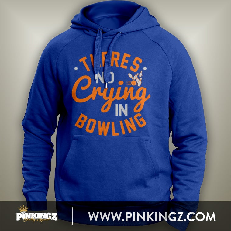 Image of Pinkingz Bowling Hoodie - There's No Crying In Bowling || Royal Blue Silver Orange