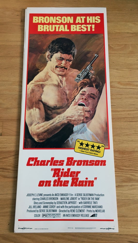 Image of 1974 RIDERS ON THE RAIN Original U.S. Insert Movie Poster w/ Artwork by BASIL GOGOS!