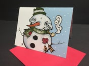 Image of Happy Christmas Snowman - Limited Holiday Edition Cards 4 pack w/Red Envelopes