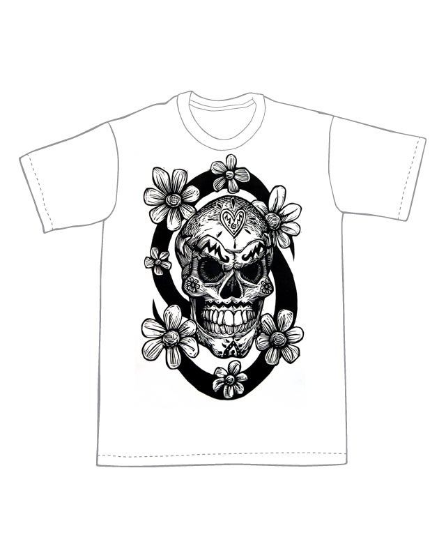 Image of Sugar Skull with Flowers