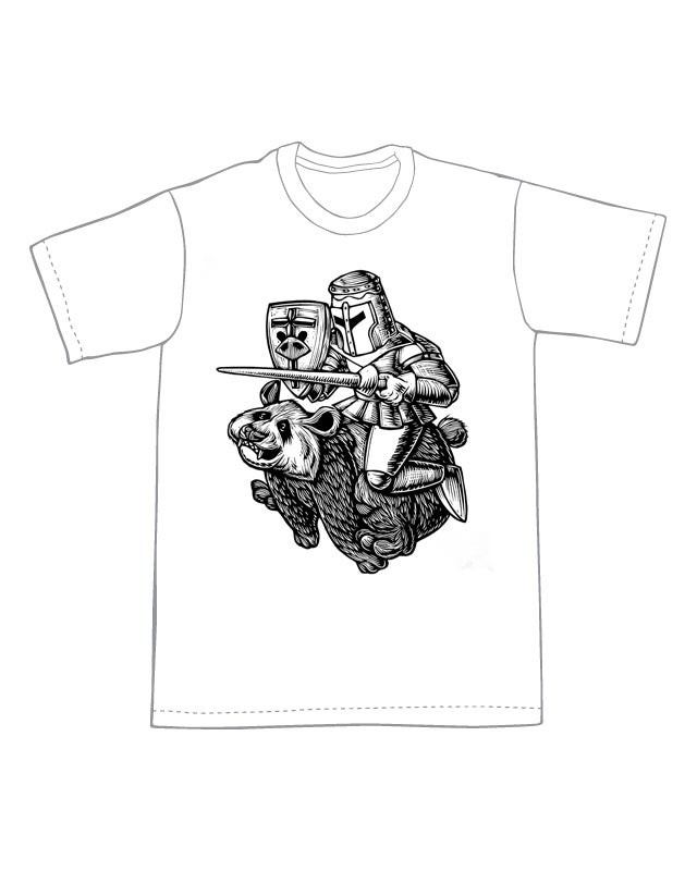 The Black and White Knight T-shirt (A2)**FREE SHIPPING**