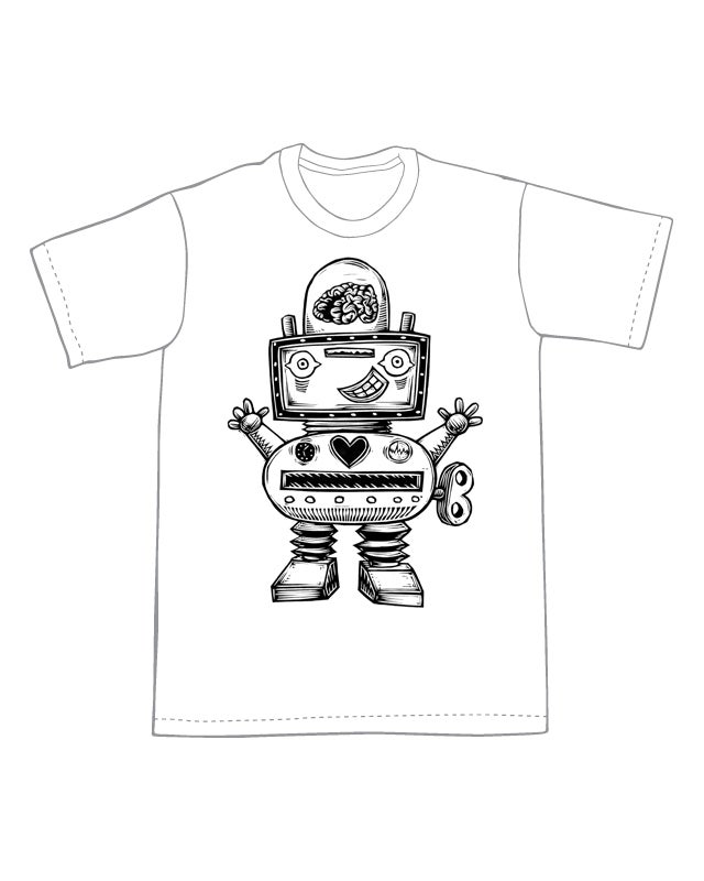 Cute and Brainy Robot T-Shirt (A2) **FREE SHIPPING**