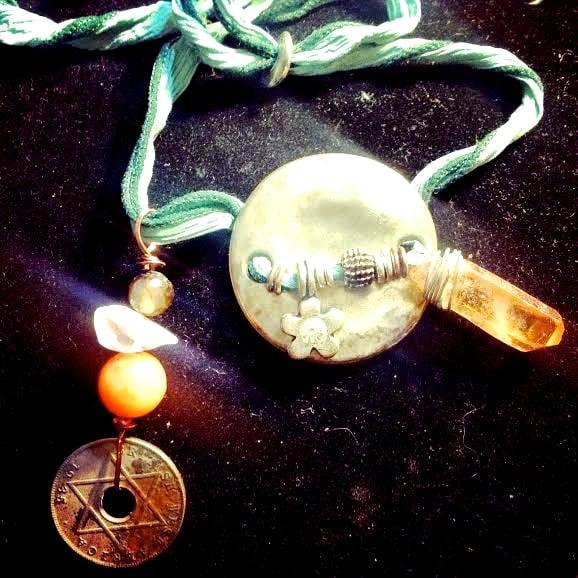 Image of  Hand Dyed Silk, AB Tangerine Quartz, Star of David Coin, Agate, Aura Angel, Smoky Quartz
