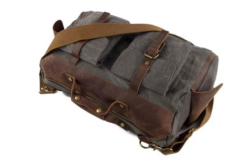 Image of 15'' Canvas Leather Travel Bag Briefcase Messenger Bag Shoulder Bag Dufulle Bag 1858