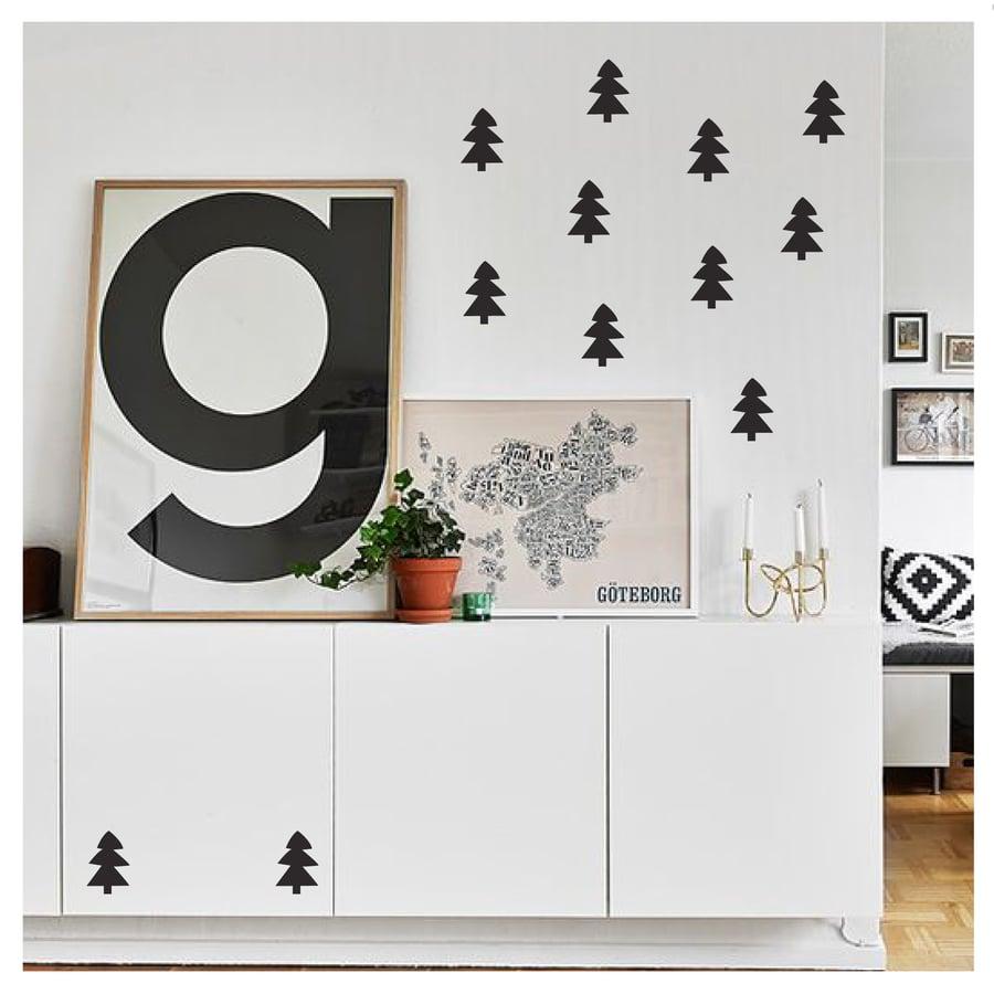 Image of Vinilo Navidad arbolitos negros