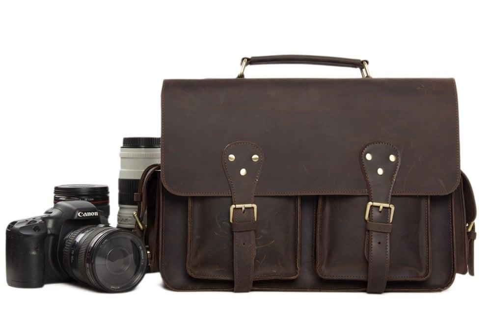 Image of Vintage Genuine Leather DSLR Camera Bag Leather Briefcase SLR Camera Bag 7145