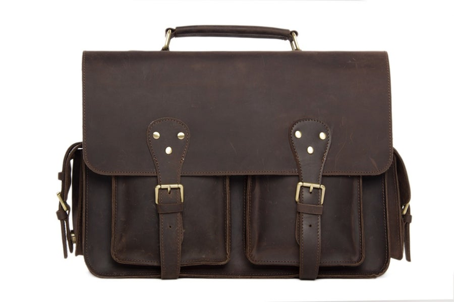 Image of Handcrafted Rustic Leather Briefcase, Messenger Bag, Laptop Bag, Men's Handbag 7145